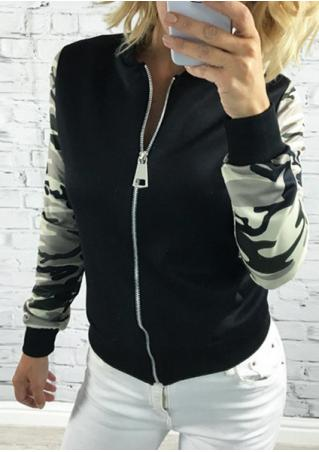 Camouflage Splicing Zipper Fashion Jacket