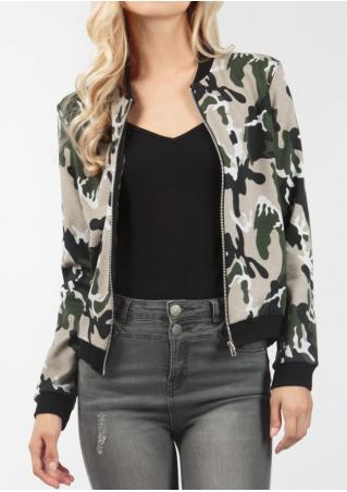 Camouflage Printed Zipper Fashion Jacket