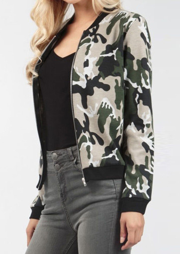 Image of Camouflage Printed Zipper Fashion Jacket