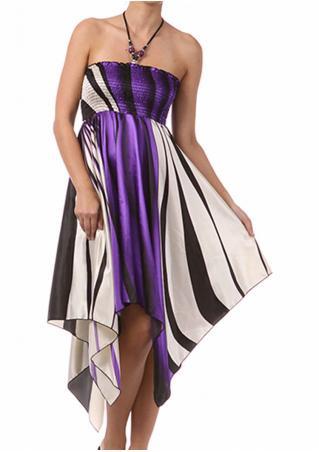 Color Block Irregular Fashion Halter Dress Color