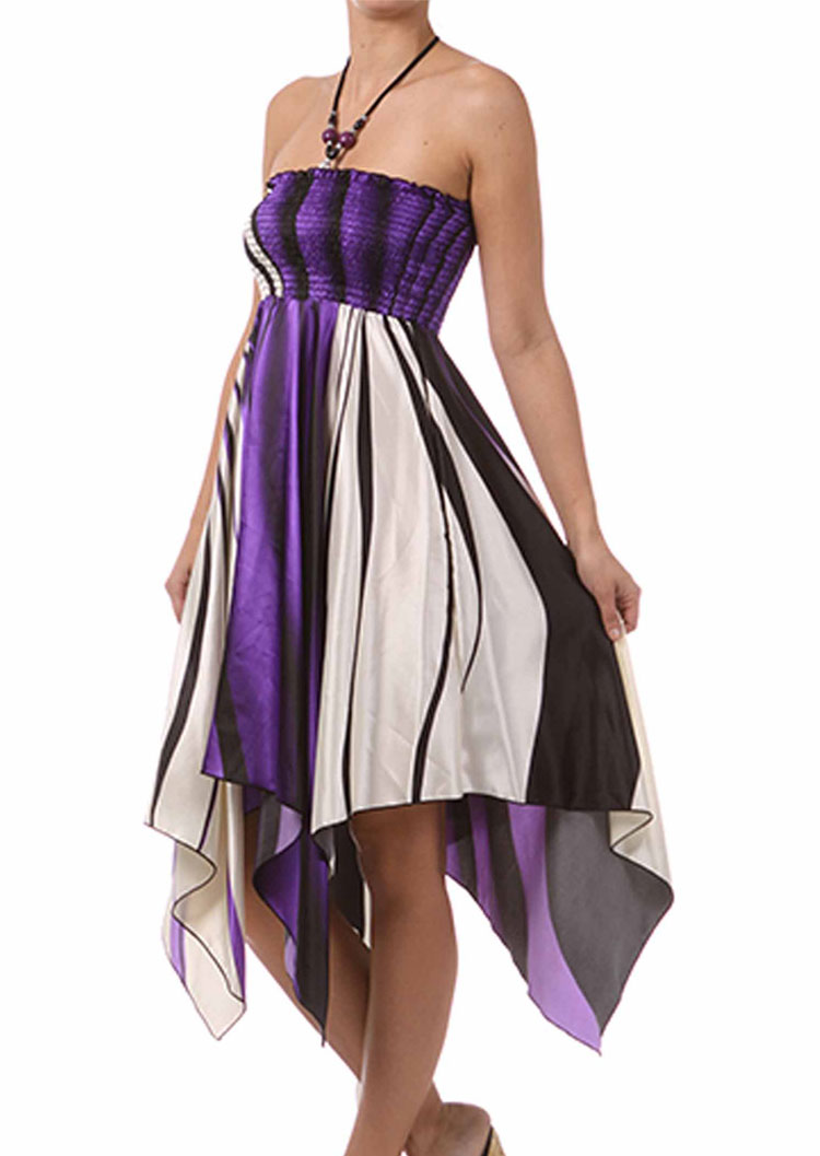 Color Block Irregular Fashion Halter Dress Fairyseason