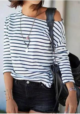 Striped Long Sleeve T-Shirt Without Necklace