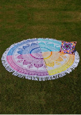Mandala Multicolor Splicing Round Picnic Blanket