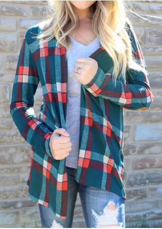 Plaid Elbow Patch Fashion Cardigan