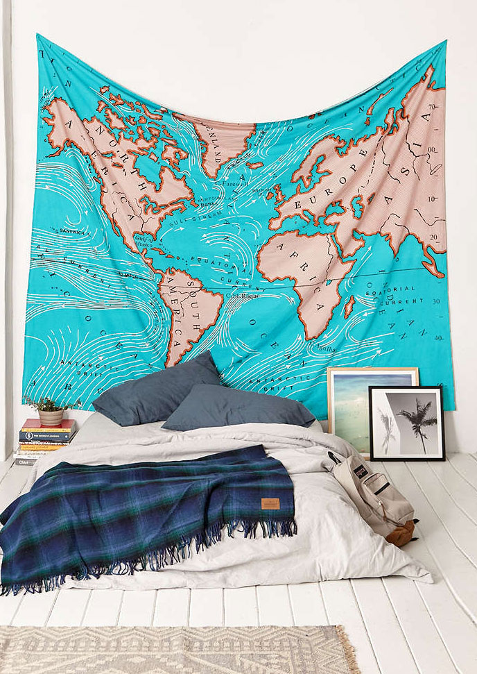 World map printed fashion rectangle tapestry fairyseason world map printed fashion rectangle tapestry gumiabroncs Images