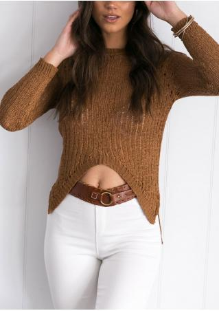 Solid Irregular Long Sleeve Fashion Sweater