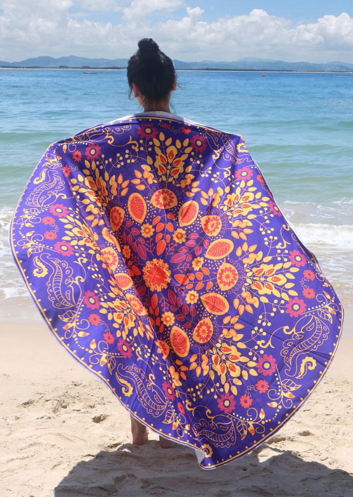 Flower Printed Round Beach Blanket Fairyseason