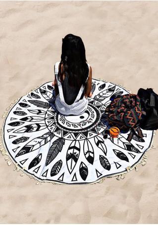 Tai Chi Leaf Printed Round Beach Blanket