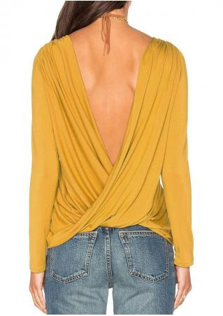 Solid Backless Cross Fashion Blouse Without Necklace Solid
