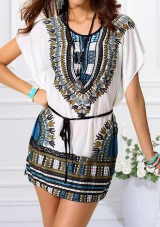 Ethnic Printed Mini Dress Without Necklace Ethnic