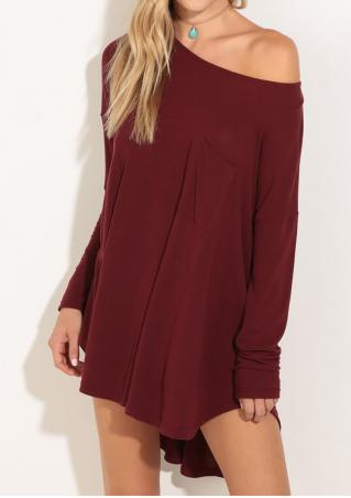 Solid Pocket Irregular Mini Dress Without Necklace