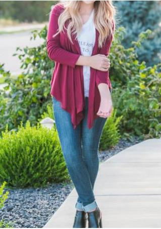Solid Irregular Long Sleeve Loose Cardigan