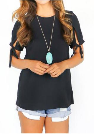 Solid Knot Sleeve Casual Blouse Without Necklace