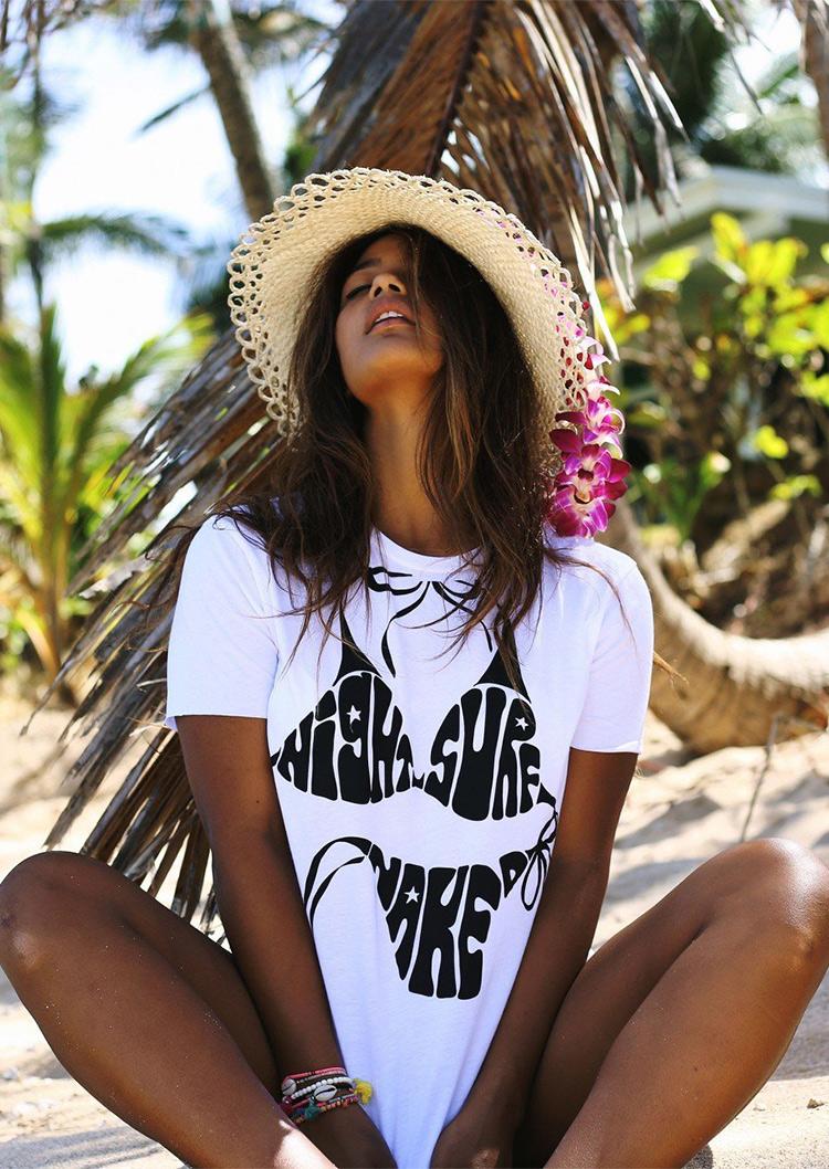 Bikini Printed O Neck Casual T Shirt Fairyseason