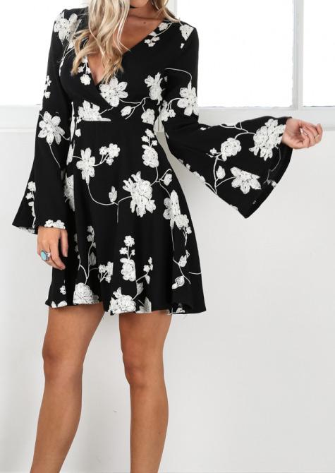Floral Deep V Neck Mini Dress Without Necklace Fairyseason