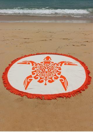 Turtle Printed Tassel Round Beach Blanket