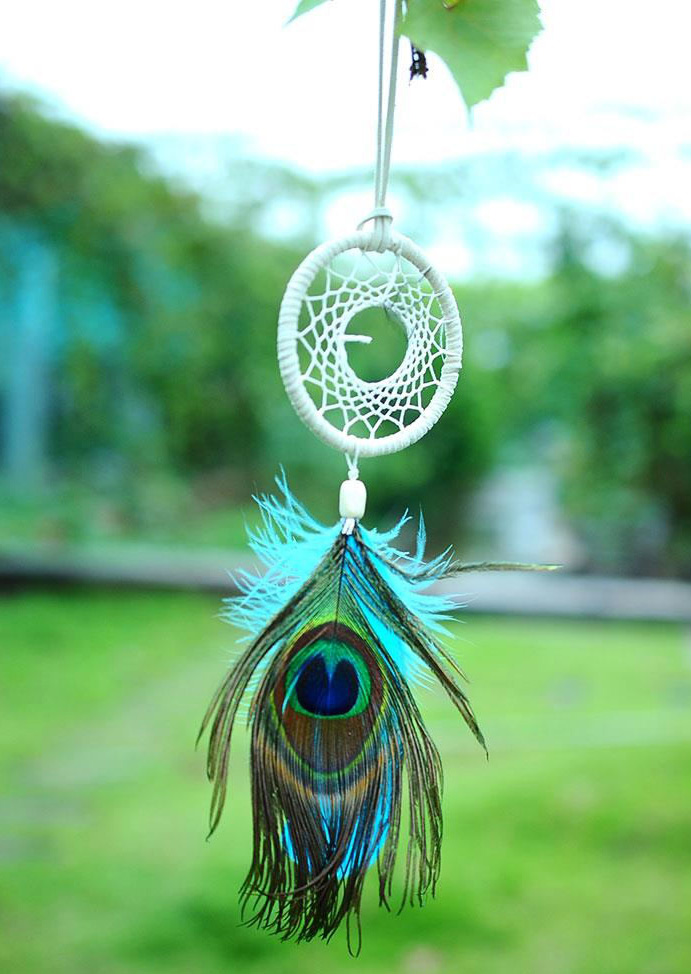 Peacock Feather Dream Catcher Hanging Decoration Fairyseason