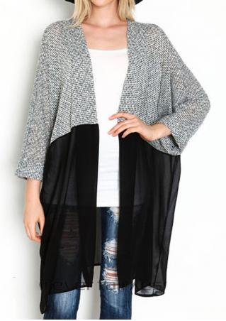 Color Block Chiffon Splicing Cardigan