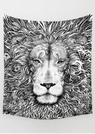 Lion Printed Rectangle Tapestry