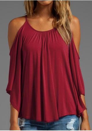 Solid Ruffled Off Shoulder O-Neck Trendy Blouse