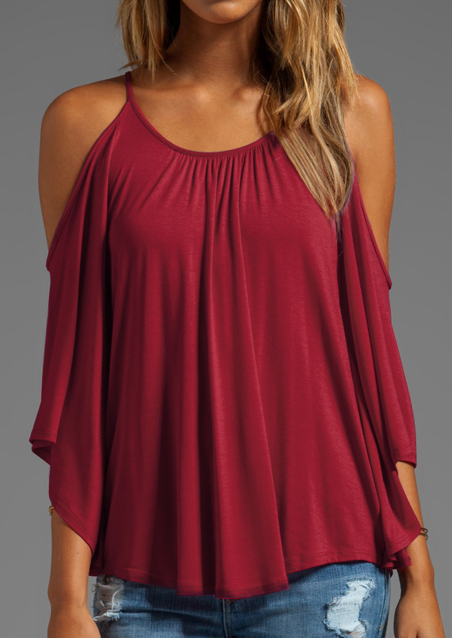 Solid Ruffled Off Shoulder O Neck Trendy Blouse Fairyseason