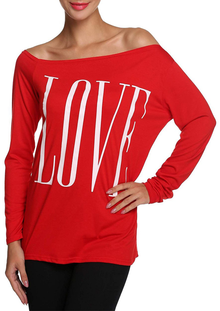 Love Printed Slash Neck Long Sleeve T Shirt Fairyseason