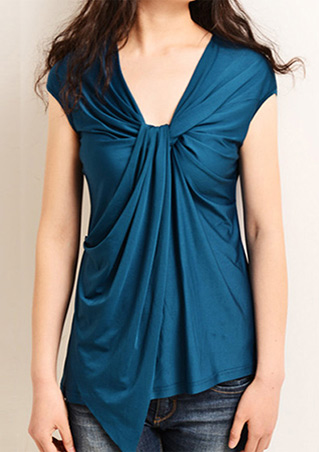 Solid Twisted Knot Asymmetric Blouse
