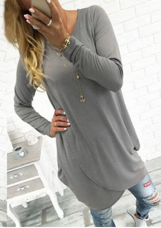 Solid Cross Asymmetric Loose Blouse Without Necklace