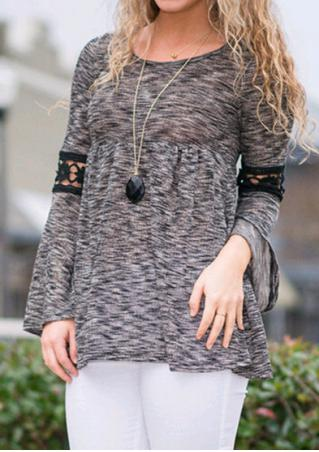 Lace Splicing Long Sleeve T-Shirt Without Necklace