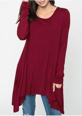 Solid Pocket Asymmetric Loose Blouse