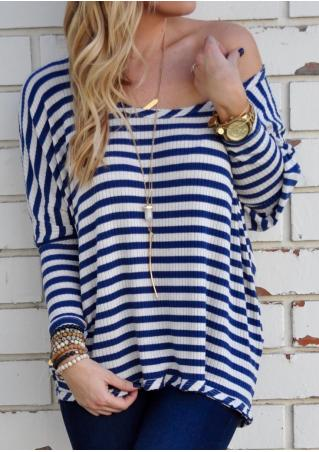 Striped Slash Neck Casual T-Shirt Without Necklace
