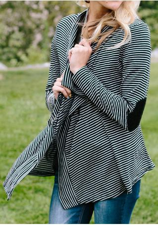 Striped Elbow Patch Long Sleeve Cardigan