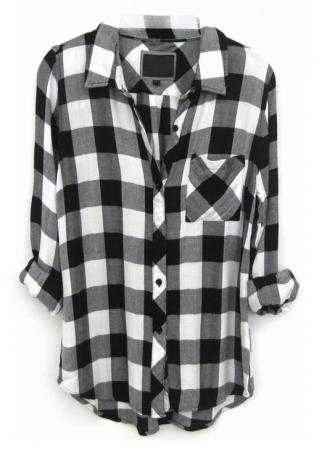 Plaid Pocket Long Sleeve Casual Shirt
