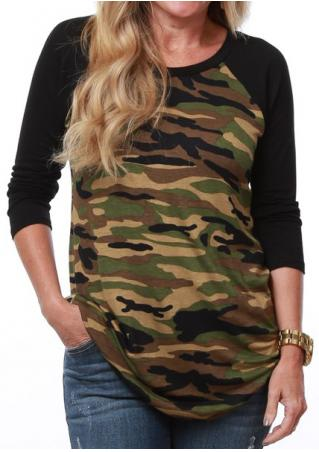 Camouflage Printed Splicing Casual T-Shirt