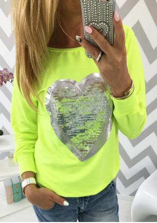Heart Sequined Splicing Long Sleeve T-Shirt