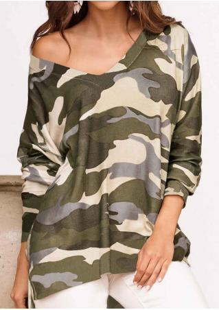 Camouflage Printed Loose Asymmetric T-Shirt