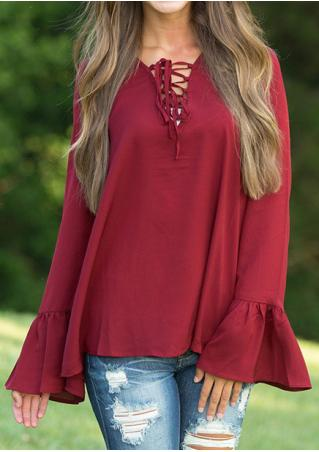 Solid Lace Up Long Sleeve Blouse