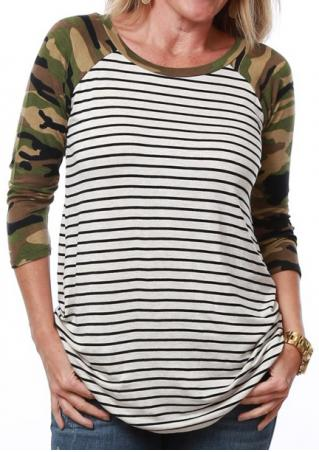 Striped Camouflage Printed Splicing T-Shirt