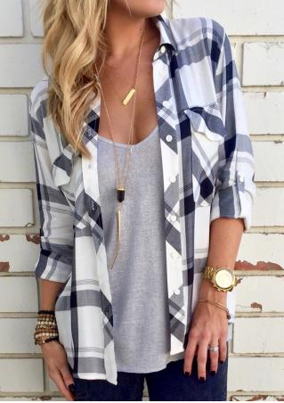 Plaid Pocket Tab-Sleeve Shirt Without Necklace