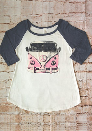 Car Printed Splicing T-Shirt Car