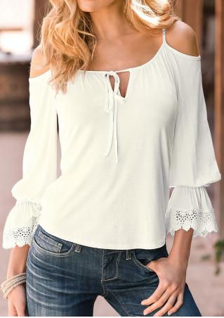 Solid Lace Splicing Off Shoulder Blouse