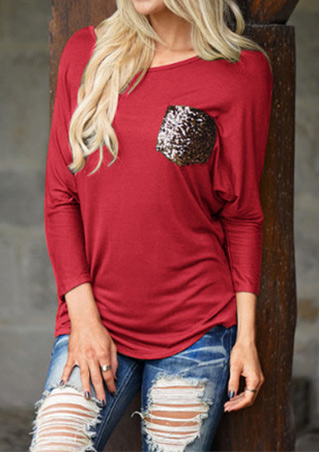 Sequined Patch Pocket Casual T-Shirt