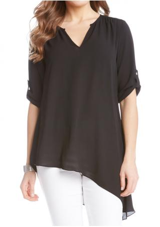 Solid Asymmetric Tab-Sleeve Blouse