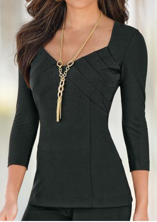 Solid V-Neck Slim Blouse Without Necklace