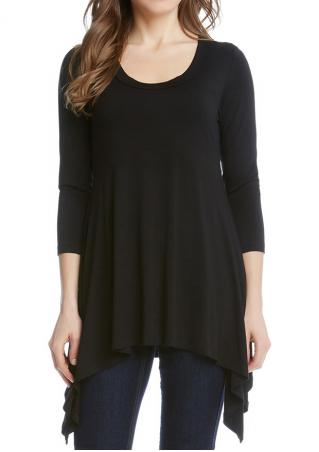 Solid Asymmetric O-Neck Loose Blouse