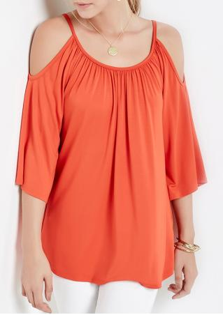 Solid Off Shoulder Loose Blouse Without Necklace