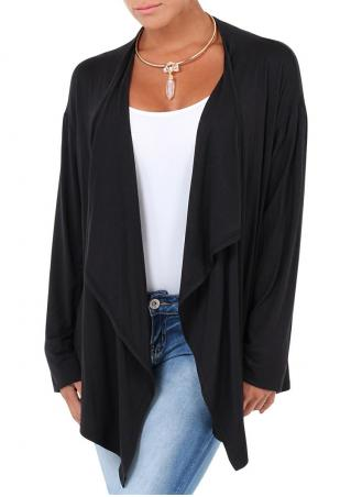 Solid Asymmetric Loose Cardigan Without Necklace