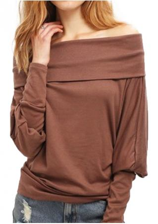 Solid Slash Neck Long Sleeve Blouse