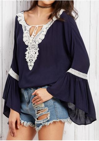Lace Splicing Tie Blouse Without Necklace
