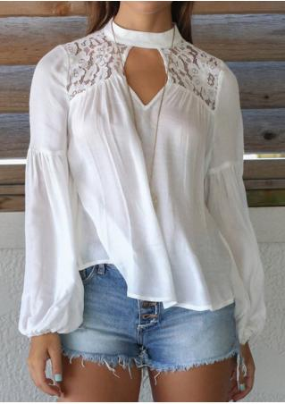 Solid Hollow Out Lace Splicing Blouse Without Necklace